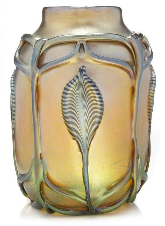 A Tiffany Studios decorated Favrile glass vase with applied decoration