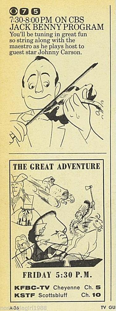 1963 JACK BENNY PROGRAM~KFBC TV AD~THE GREAT ADVENTURE~CHEYENNE WYOMING