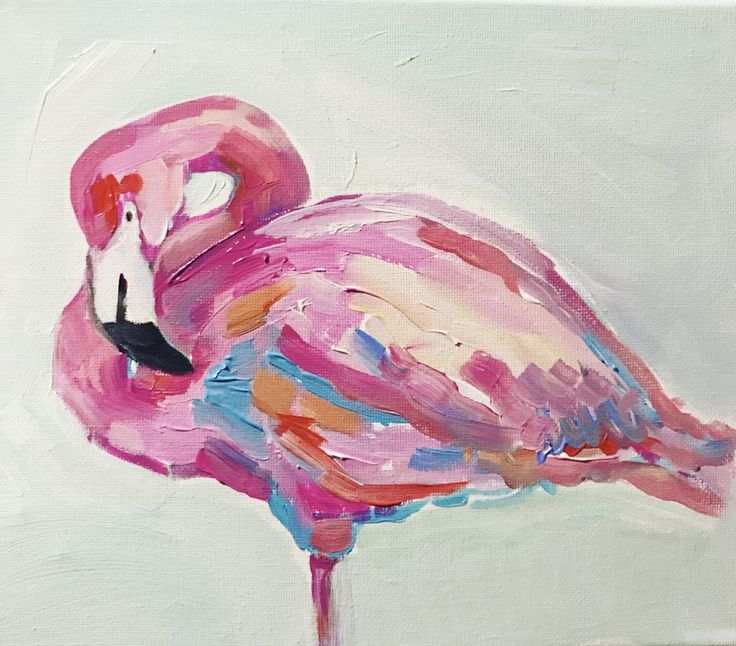 Acrylic 8 x 10 pink flamingo painting. Amanda Ryan Tucker on etsy.