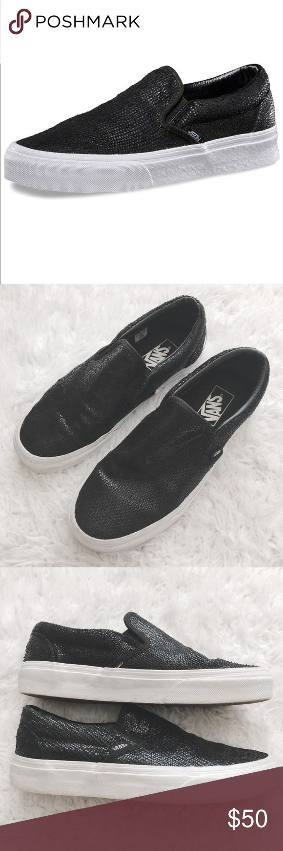 Vans Pebble Snake Classic Slip On Sneaker Unisex women's 7.5 & mens 6. Shiny black snakeskin texture. Excellent pre-owned condition.   •USE OFFER FEATURE TO NEGOTIATE  •BUNDLE TO SAVE  •NO OUTSIDE TRANSACTIONS •NO TRADES Vans Shoes Sneakers