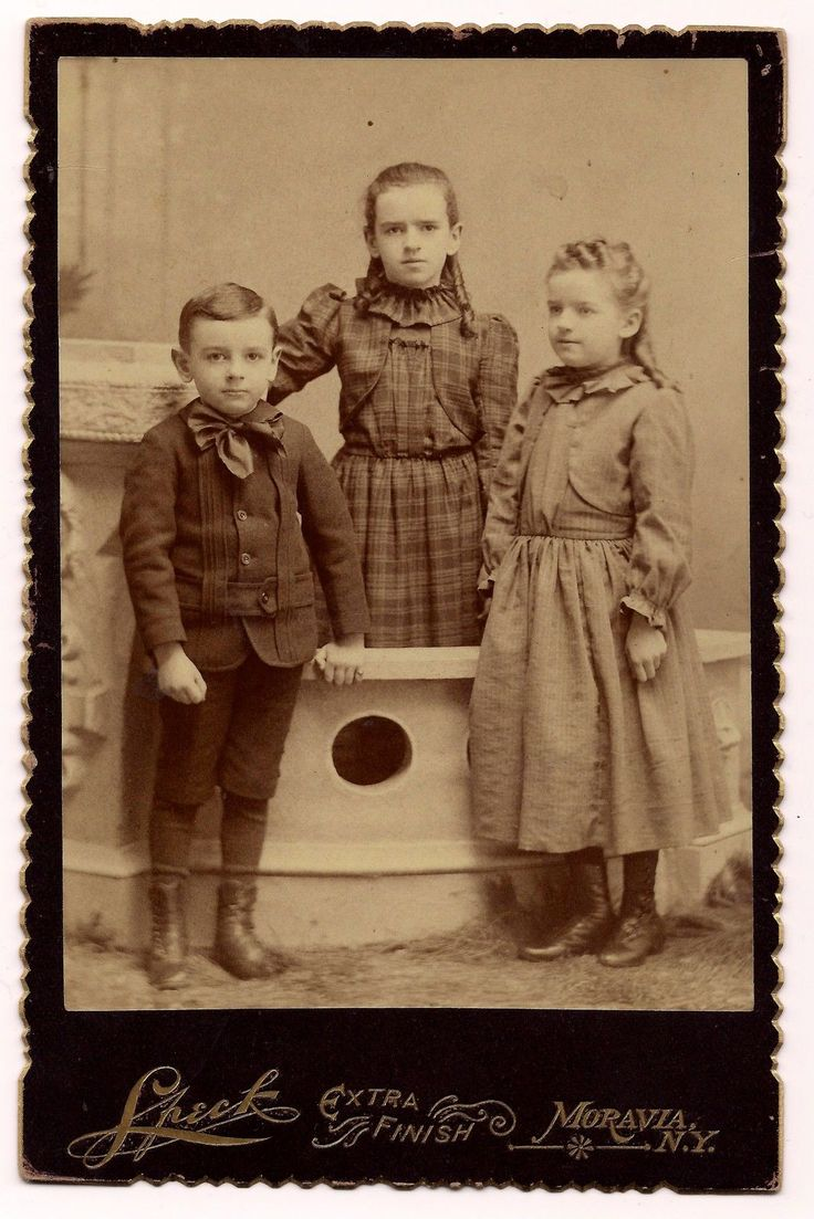 Group of Siblings, 1890s   Simple dresses with fun neck ruffs (definitely something anyone could remake)! #Victorian #girls #boy