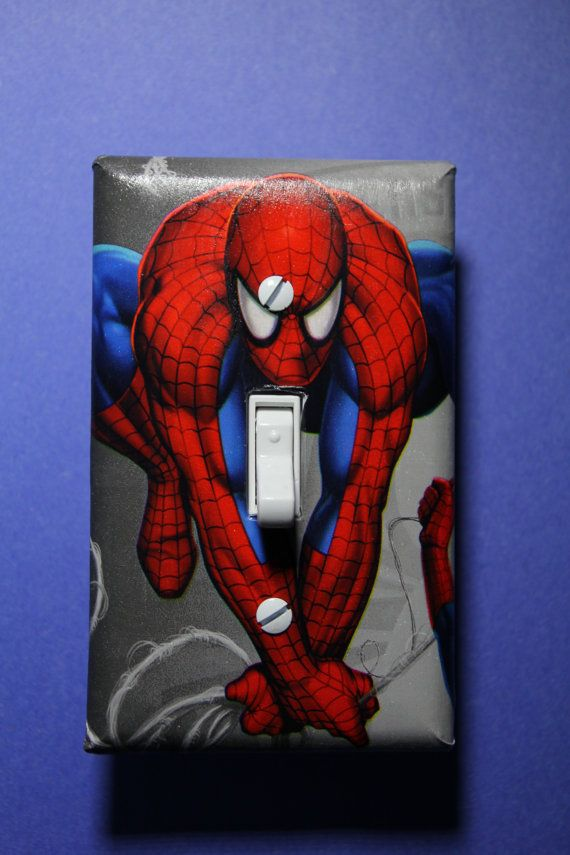 Spiderman Light Switch Plate Cover Comic Book boys child kids Superhero room home decor bedroom on Etsy, $7.99 CAD