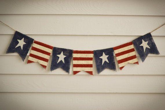 Primitive Rustic American Flag Burlap Banner - Great Photo Prop - Fireplace Mantel Bunting Garland - Rustic Patriotic Country Flag Garland