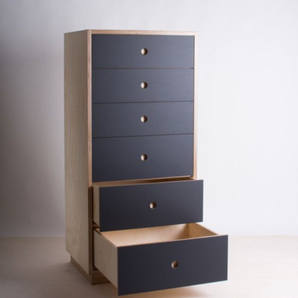 Birch Plywood Tall Boy With Lino Drawer Fronts | Quality Plywood Furniture  Made In New Zealand