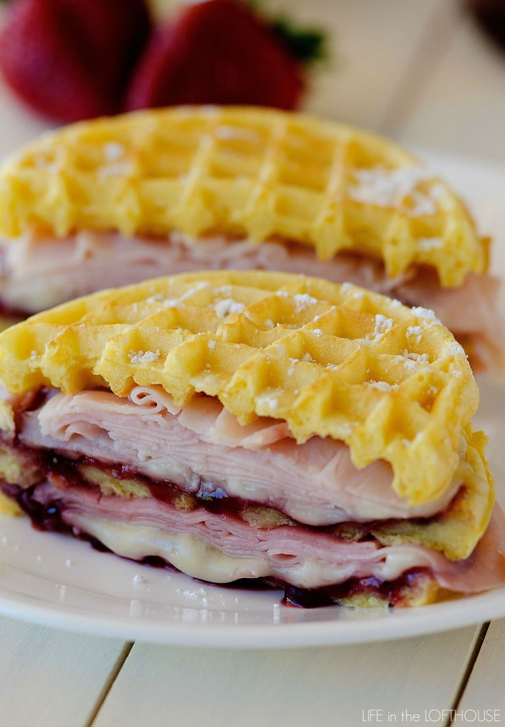 Amazing Monte Cristo Waffle Sandwiches _ All the essentials needed for these yummy, egg-battered, pan-grilled sandwiches: Freezer Eggo Homestyle Waffles, Market Pantry Honey Ham, Market Pantry Oven-Roasted Turkey, & Monterey Jack cheese!