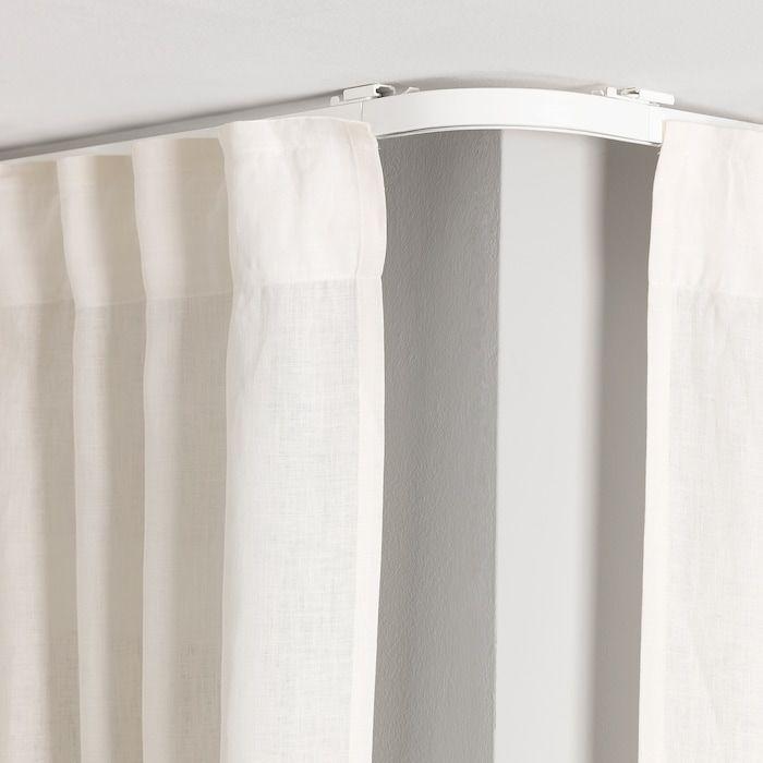 Vidga Pieza Esquina Riel Simple Blanco Ikea In 2020 Curtains Ceiling Curtains Curtain Rails