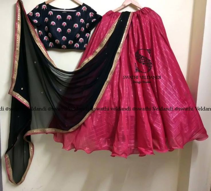 Beautiful pink color lehenga and black color crop top with wrinckle chiffon dupatta. Crop top with hand embroidery thread work. call / watsapp : +918179668098 09 October 2017