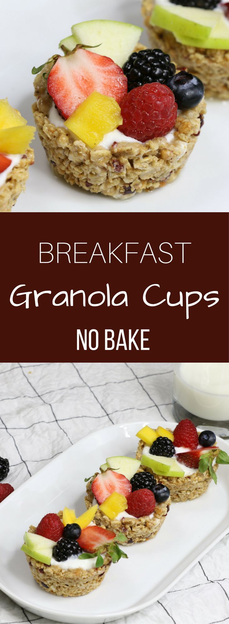 Breakfast Granola Cups recipe is a quick and easy, no bake vegetarian recipe. The cups themselves use only 3 ingredients.Makes a great make ahead breakfast.
