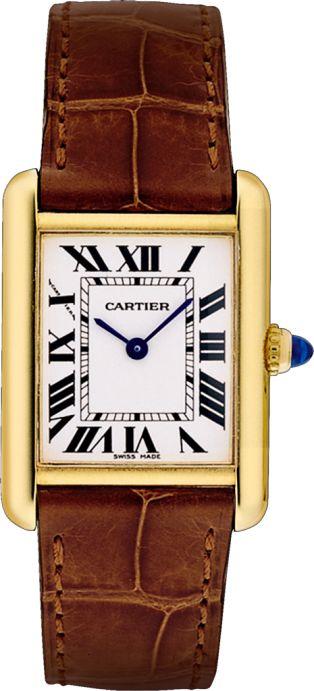 Reloj Tank Louis Cartier Modelo pequeño, oro amarillo, piel, zafiro