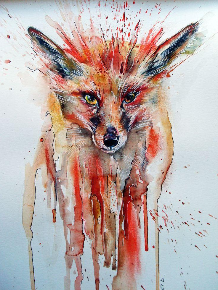 petit renard  roux Aquarelle Collet Delphine