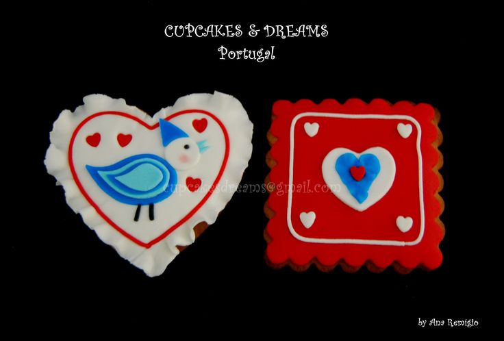 CHRISTENING LOVE BIRDS COOKIES II - by Ana Remígio CUPCAKES & DREAMS Portugal