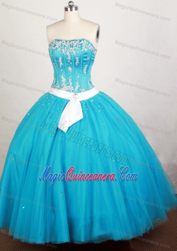 Teal Quinceanera Dresses 2013 Teal with White...