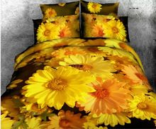3d желтое золото маргаритка цветок принт постельные принадлежности хлопчатобумажная ткань полный queen одеяло пододеяльники крышки листов комплект девочки для дома декор(China (Mainland))