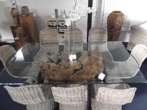 Large Rectangular Wooden Teak Root Block Dining Table, With Glass Top And  Eight Stacking Natural
