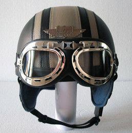 Descuento casco de motocicleta de cuero cubierto Venta al por mayor-14 colores! Caliente cuero cubierto casco de la motocicleta abierta de la cara Casco Vespa Medio casco UV gafas de adulto S M L XL