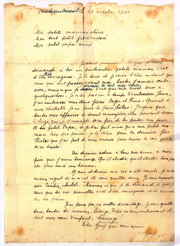 La lettre de Guy Moquet 22 Octobre 1941.