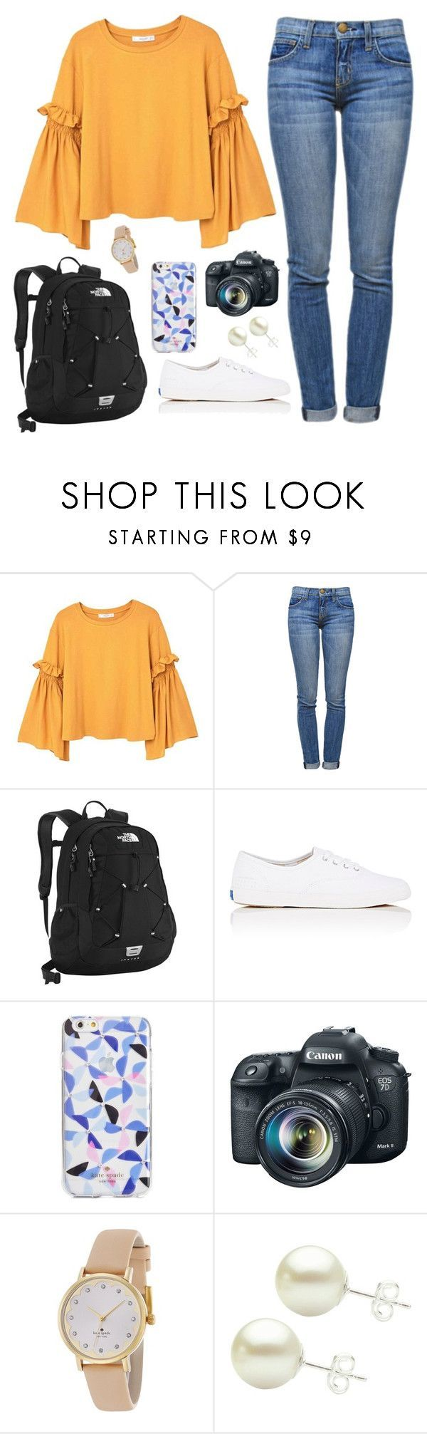 """Too bad there's school tomorrow"" by classygrace ❤ liked on Polyvore featuring MANGO, Current/Elliott, The North Face, Keds, Kate Spade and Eos"