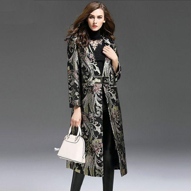 Daily Price $72.00, Buy Plus Size 5XL Elegant Retro Black Autumn Winter Women Embroidery Long Coat Dobby Lapel Single Breasted Print Women Coat