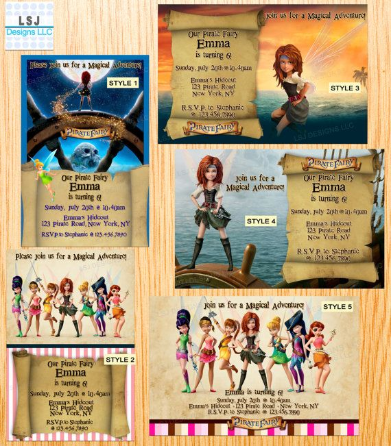 PRINTED 20pcs 20x PERSONALIZED Disney PIRATE Fairy Princess Zarina Tinker Bell Birthday Party Invitations Thank you card w/ Envelopes Seals