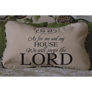 As For Me And My House Decorator Pillow Joshua Bible Verse | Decorator Pillows With Our Best Selling Verses Christian Wall Decals