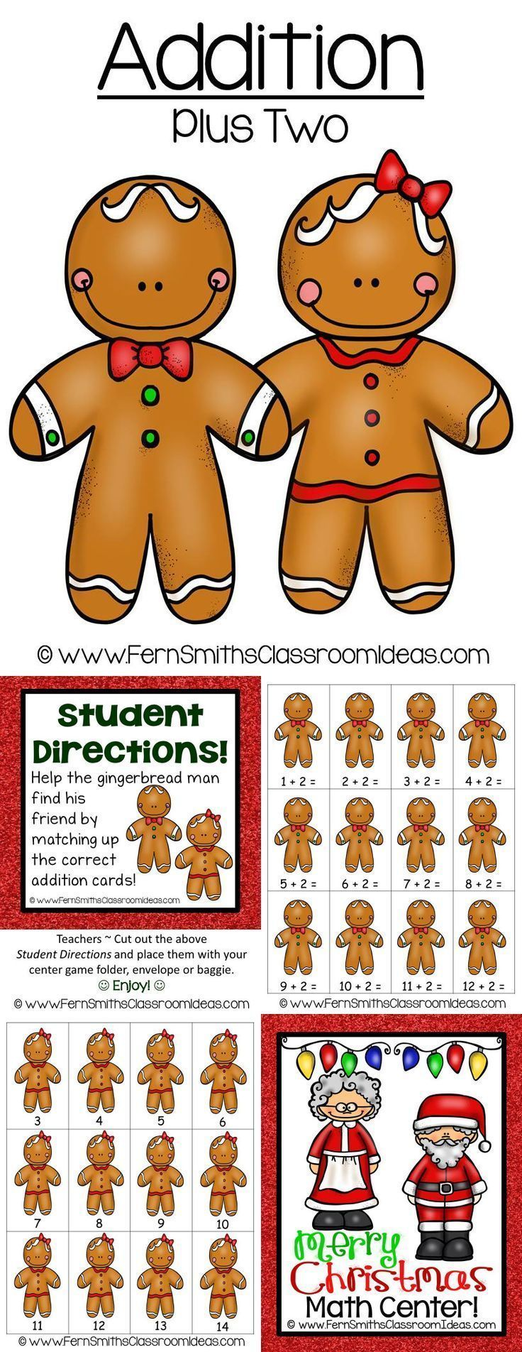 Christmas Addition Plus One Center Game ~ Quick and Easy to Prep Addition Center Game - Addition - Plus Two Concept with a Cute Christmas Theme #TPT $Paid