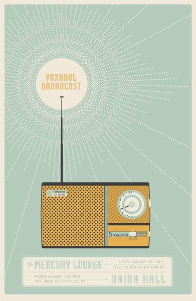 Voxhaul Broadcast gig poster by Jonathan Davis: Design Hom, Design Book, Design Interiors, Gigposters Com, Retro Radios, Graphics Design, Gig Poster, Retro Poster, Flats Design