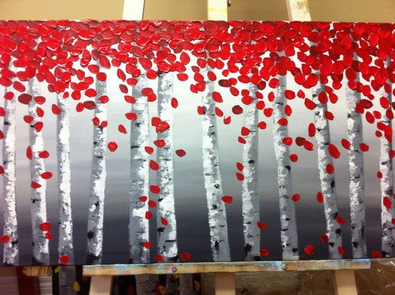 Hi! Thanks for looking! This items ready to ship out! And also can make custom order for A DIFFERENT SIZE OR COLOR! Artwork description: - Title- Birch trees with red leaves 01 - Size- 18 by 36 (inch) CANVAS WILL ARRIVE WIRED READY TO HANG. - Medium: acrylic on Gallery Wrapped canvas. - Dominant Colors: white, black. grey. red. - FINISH: Coats of Varnish have been Applied to the Painting for Protection. Thank you for looking at this listing! Check out my other great colors, sizes, and…