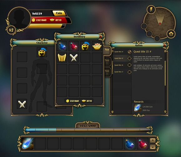 Fantasy Game Gui Pack 02 by yuq229 on Creative Market