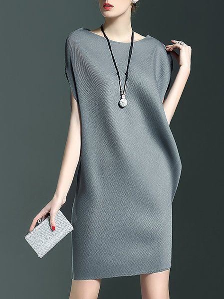 Shop Mini Dresses - Gray Bateau/boat Neck Ribbed Sleeveless Plain Mini Dress online. Discover unique designers fashion at StyleWe.com.