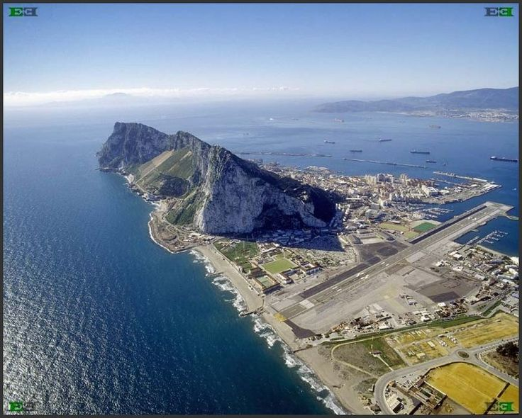 Gibraltar - showing airport runway crossing main point of entry from Spain