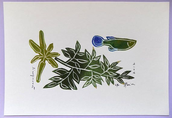 You are purchasing an original, one-of-a kind linocut print, entirely made by hand. Each print is unique, marked accordingly EA - Epreuve dartiste. Each work is signed and dated in pencil by the artist. It also includes handmade details in gold marker that shine under oblique light and reveal new decorative elements.  The print is shipped unframed and you will be able to frame it according to your taste and budget :) Exotic fish tank decoration, with tropical fish and plants, in nuances of…
