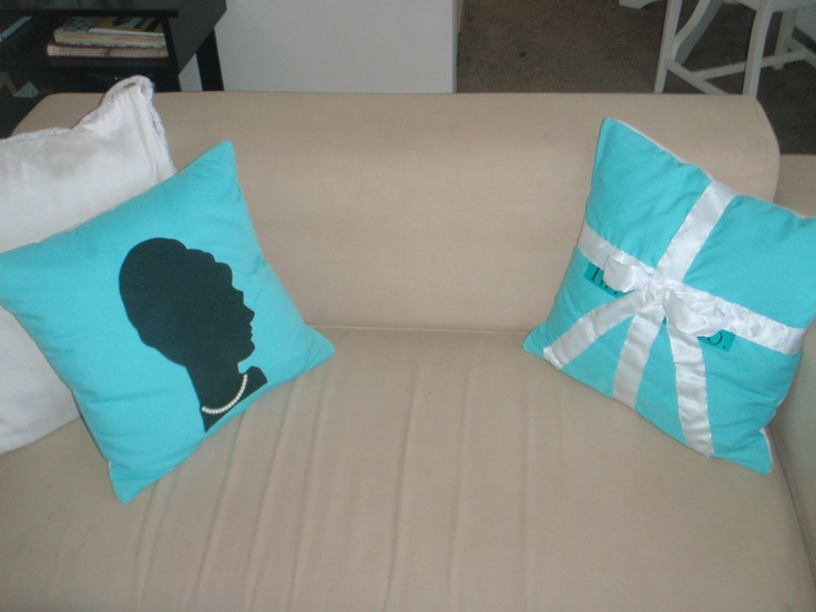 Quick! Someone crafty please make these for me! Tiffany blue, one with Audrey silhouette and the other like the jewelry box.....gotta have them!!!