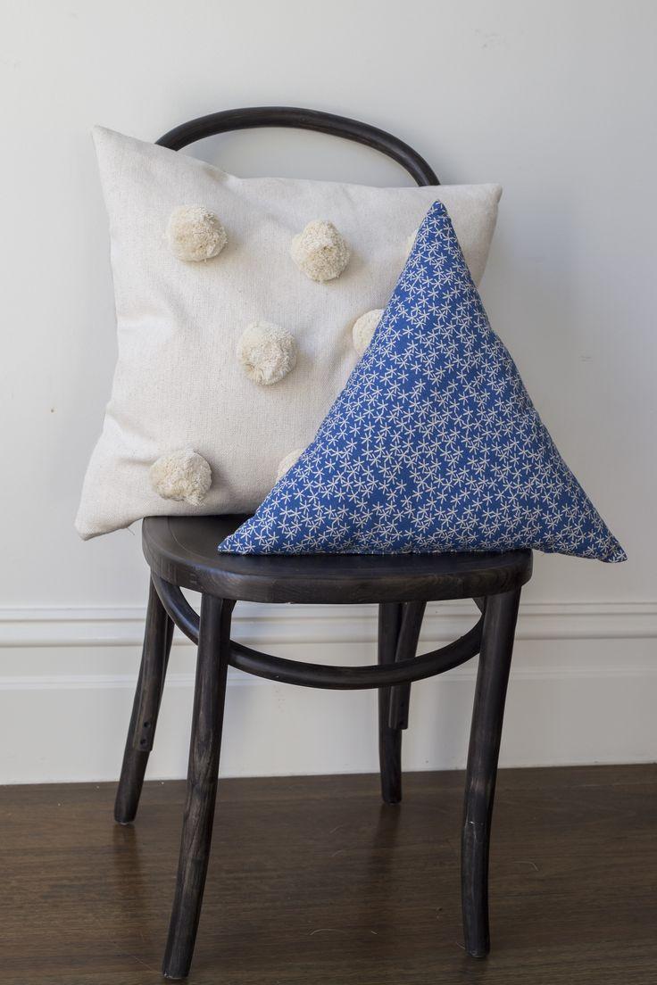 #pompom #cream #cushion with #daisyrain #triangle #cushion