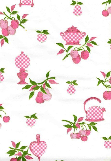 The same reader who sent me the vintage pink poodle wallpaper sent me this pink checkerboard teapot wallpaper. It's pretty darn spiffy, too. Wallpaper the world!