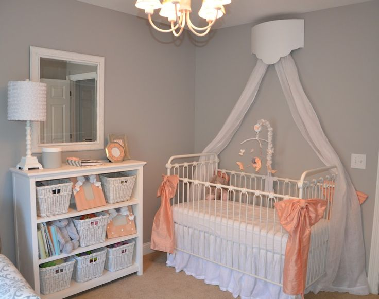 jaycie 39 s girly peach gray and white nursery big bows the o 39 jays and gray. Black Bedroom Furniture Sets. Home Design Ideas