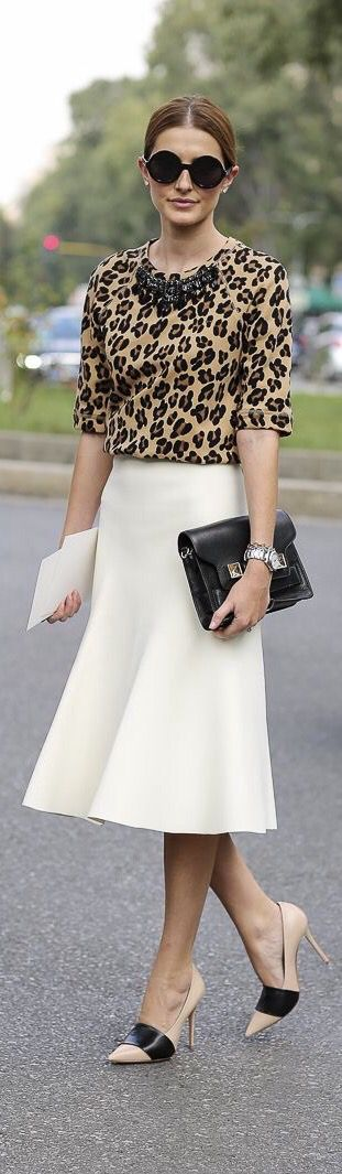 Winter White midi skirt, Leopard print, + color block pumps.