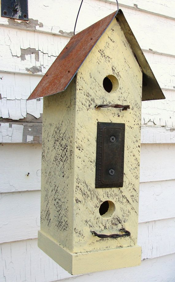 Recycled Vintage Finds Birdhouse Rustic Butter by