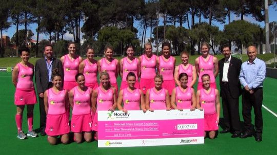 Australia's women's hockey team, the Hockeyroos and their major sponsor Ausdrill raised money during a community engagement trip to Kalgoorlie in May for supporting National Breast Cancer Foundation (NBCF). The Pretty in Pink Hockeyroos were joined by NBCF and Ausdrill representatives at the training today, when the reigning Commonwealth Games gold medallists presented NBCF with a cheque for $9092.05.