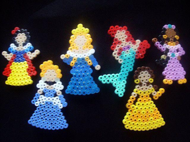 Princesses from Pony Beads    Look! Disney Princesses! by RiverNaiad, via Flickr