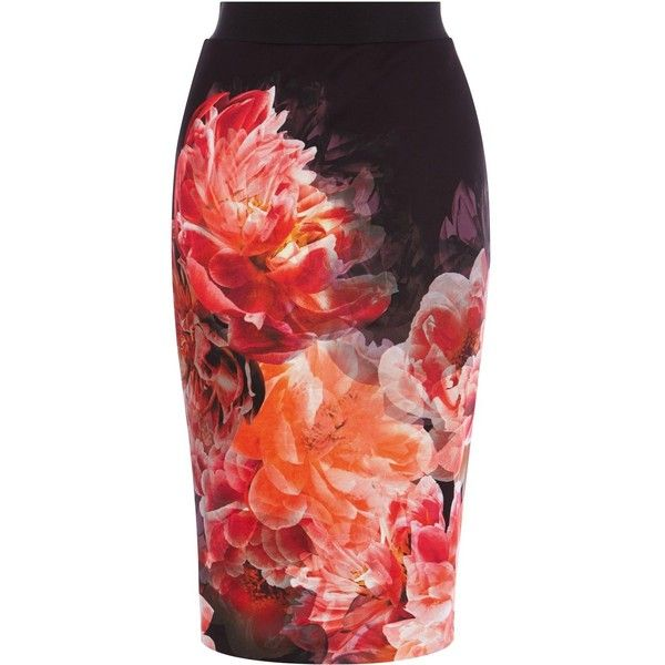 Coast Peony bloom pencil skirt found on Polyvore featuring skirts, women, red bandage skirt, bandage skirt, red floral skirt, knee length pencil skirt and flower print pencil skirt