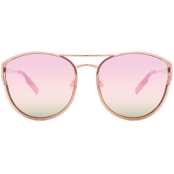 Quay Cherry Bomb Sunglasses (245 MYR) ❤ liked on Polyvore featuring accessories, eyewear, sunglasses, quay eyewear, quay sunglasses, metal frame sunglasses, metal frame glasses and uv protection glasses