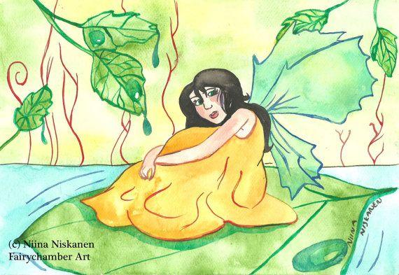 Original Fairy Art - Summer Fairy Illustration - Fantasy Art Painting - Watercolor Fairy Painting - Nursery Art for Kids