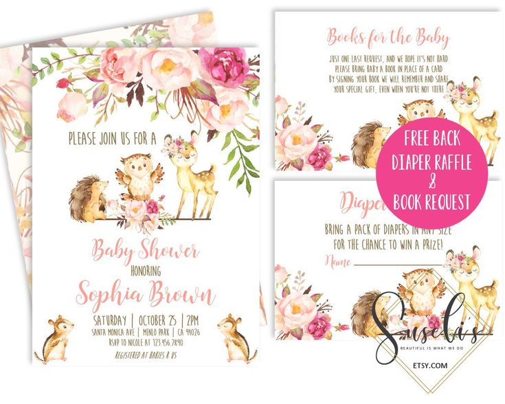 Woodland Baby Shower Invitation Set Thank you Diaper Raffle Ticket Books for Baby Printable Invite Inserts Watercolor DIGITAL FILES, BS56
