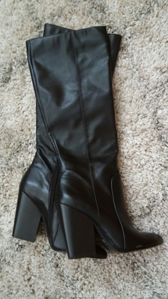Womens faux leather black mid calf boots size 7. Elegant 3.5 inch heel   fashion  clothing  shoes  accessories  womensshoes  boots (ebay link) 5617fa15f