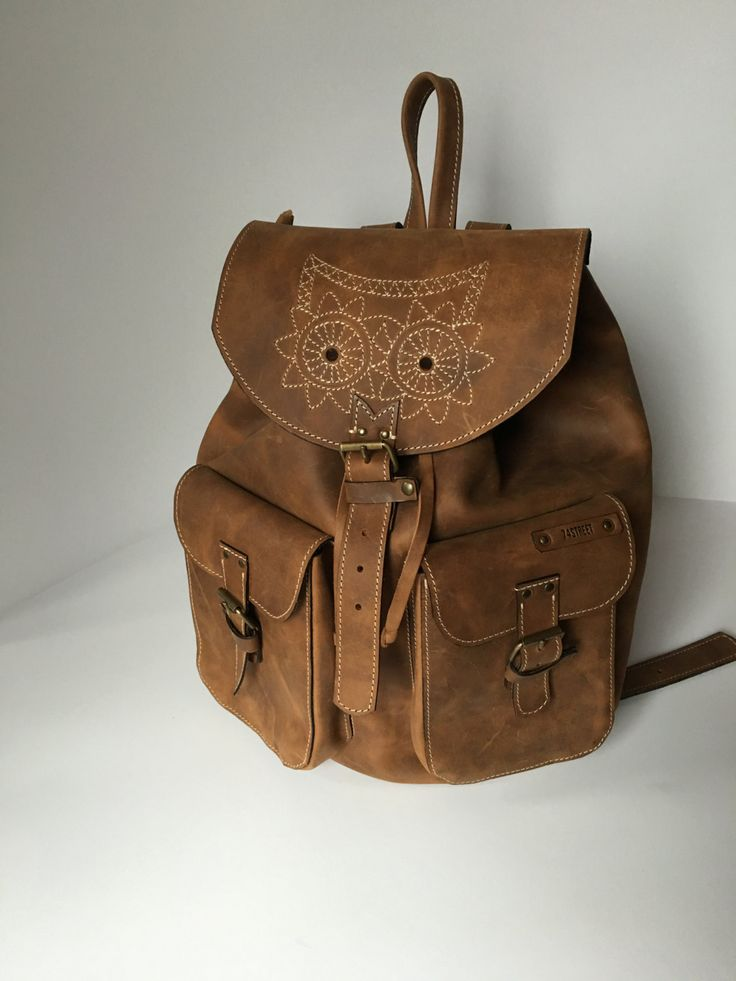 Leather Backpack,Full Grain leather Back Pack,Owl Eboidred Leather Backpack,Travel Bag,Overnight Bag, School Bag,Student Bag,Leather Rucksac by 74streetbags on Etsy