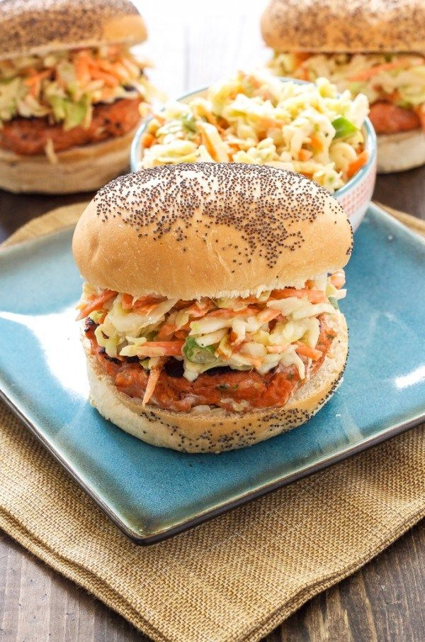 15 Delicious Ways to Use Canned Salmon | Food Network Canada. Teriyaki Salmon Burgers with Asian Slaw