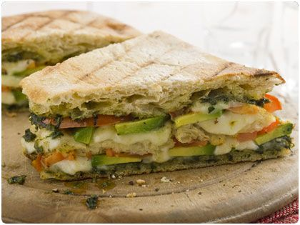 tomato and avocado panini with mozzarella and pesto.: Pesto Paninis, Avocado Paninis, Paninis Recipes, Curtis Stones, Mozzarella, Paninis Sandwiches, Paninis Curtis, Tomatoes, Grilled Sandwiches
