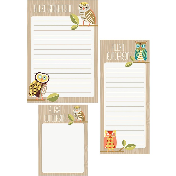 Owl note pads