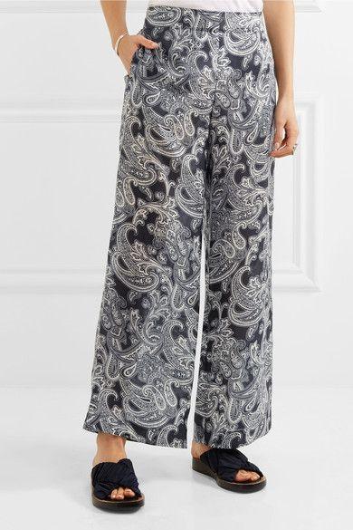 Acne Studios - Tennessee Printed Chiffon Wide-leg Pants - Navy - FR