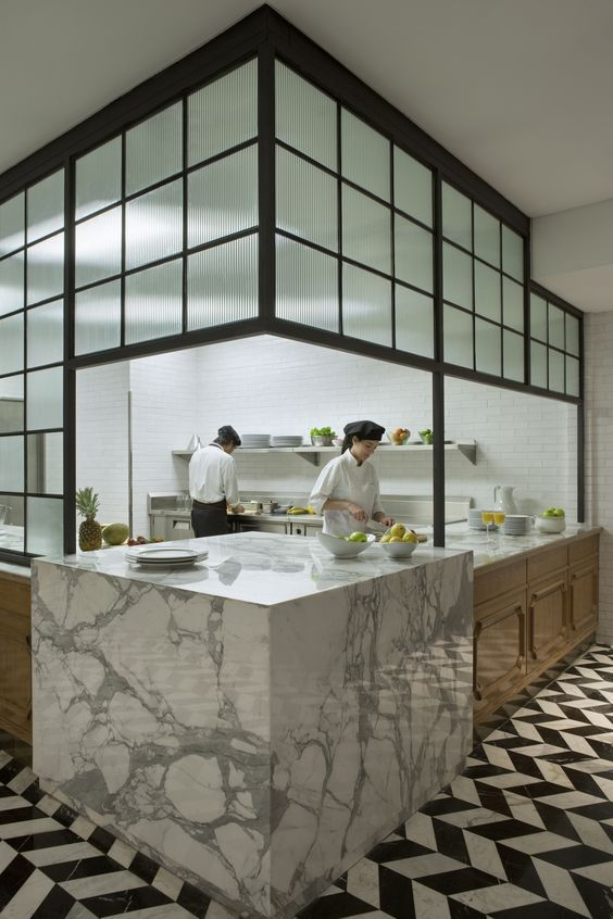 Residential kitchen inspired. Marble counters | stunning chevron marble floor. Four Seasons Elena Restaurant EDG: